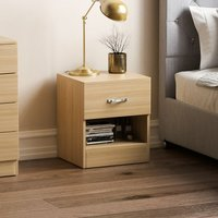 Home Discount - Riano 1 Drawer Bedside Chest, Pine