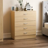 Home Discount - Riano 5 Drawer Chest, Pine