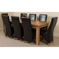 Richmond Large Oak Extending Dining Table with 8 Lola Leather (Black)