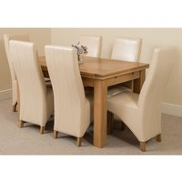 Richmond Medium Oak Extending Dining Table with 6 Lola Leather (Ivory) - MODERN FURNITURE DIRECT
