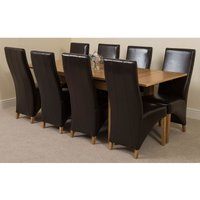 Richmond Solid Oak 140cm-220cm Extending Dining Table with 8 Lola Dining Chairs [Brown Leather]