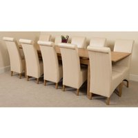 Richmond Solid Oak 200cm-280cm Extending Dining Table with 10 Montana Dining Chairs [Ivory Leather] - MODERN FURNITURE DIRECT