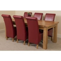Richmond Solid Oak 200cm-280cm Extending Dining Table with 6 Montana Dining Chairs [Burgundy Leather] - MODERN FURNITURE DIRECT