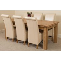 Richmond Solid Oak 200cm-280cm Extending Dining Table with 6 Montana Dining Chairs [Ivory Leather]
