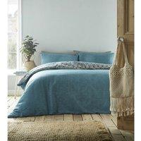 Riley Geometric Double Duvet Cover Set Bedding Bed Set Aqua Reversible Quilt