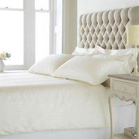 Eton Satin Stripe Duvet Cover Set (200 Thread Count) (Super King) (Cream) - Riva Home