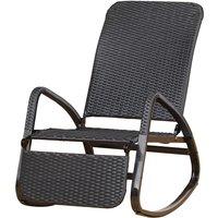 Rocking chair fauteuil à bascule style cosy dossier repose-pied réglable résine tressée 4 fils imitation rotin noir