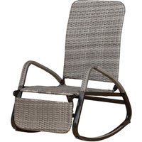 Rocking chair fauteuil à bascule style cosy dossier repose-pied réglable résine tressée imitation rotin gris