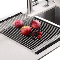 Roll-Up Dish Dryer, 100% BPA Free, Foldable Sink Drainers Ideal for Fruits, Vegetables, Plate, Durable Silicone Covered Stainless Steel, Black, Size
