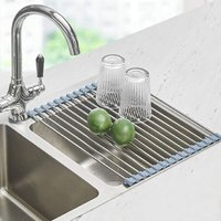 Roll Up Dish Drying Rack, Seropy Over The Sink Dish Drying Rack Kitchen Rolling Dish Drainer, Foldable Sink Rack Mat Stainless Steel Wire Dish Drying