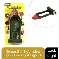 3 in 1 Complete Bicycle Security Lock and Light Set With Bracket + Batteries - Rolson
