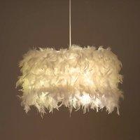 Romantic Ceiling Lamp Modern Contemporary Hanging Light Creative Chandelier Ø22cm Pure Feather White Pendant Light E27