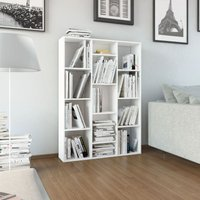 vidaXL Room Divider/Book Cabinet High Gloss White 100x24x140 cm Chipboard - White