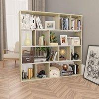Room Divider/Book Cabinet White and Sonoma Oak 110x24x110 cm Chipboard - Multicolour