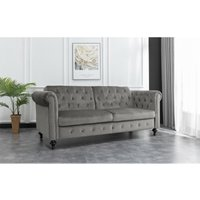Living room 3 seater velvet chesterfield style sofa bed in grey - Roomee
