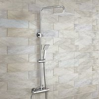 Swan Dual Control Square Slim Head Thermostatic Shower Mixer and Easy Fitting Kit