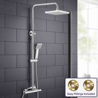 Rosa Square Thermostatic Dual Control Riser Slider Shower Mixer and Easy Fittings - NESHOME
