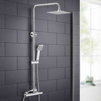 Rosa Thermostatic Slim Modern Shower Mixer Chrome Bathroom Square Head - NESHOME