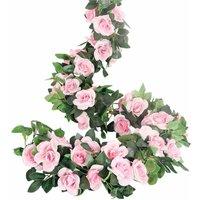 Soekavia - Rose Garlands Artificial Rose Tendrils, 4 Pieces (70cm) Artificial Silk Flower Garlands for Home, Office, Garden, Decoration (Pink)