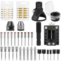 Rotary Tool Accessories Kit Saw Blade Mandrel Mini Drill Chuck Rotary Dedicated Locator Rotary Tools 0.5-3.2mm Brass Collet Set Keyless Chuck Router