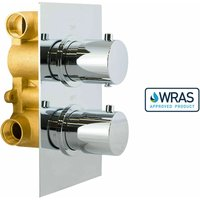 Gravity Bathrooms - Round 2 Dial 2 Way Chrome Concealed Thermostatic Shower Mixer Valve Solid Brass WRAS