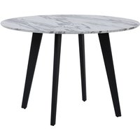 Minimalist Dinner Dining Kitchen Table Marble Effect Black Metal Legs Round 110 cm Mosby