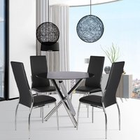 Round Dining Table Glass Top Chrome Legs With 2 Chairs