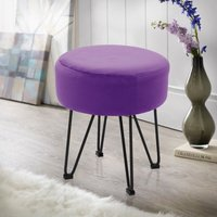 Round Dressing Table Stool Soft Velvet Piano Chair Makeup Seat Wire Legs Purple - LIVINGANDHOME