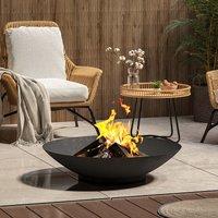 Corten Steel Fire Pit Burner Bowl Garden Heater Camping Rust Bonfire, Black 80cm