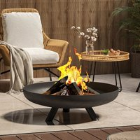 Round Fire Pit Patio Garden Bowl Outdoor Camping Patio Heater Log Burner, Black 80cm