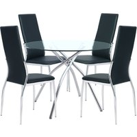 Livingandhome - Round Glass Table 4 Seat Faux Leather Chairs Metal Pedestal Kitchen Dining Set