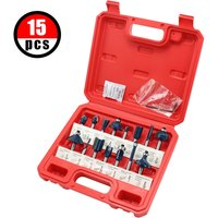 Router Bit Set of 15pcs 1/4 Inch Shank Carbide Tipped Woodworking Tool Set with Plastic Case