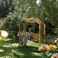 Rowlinson Dartmouth Swing Sear Arbour - Natural Timber - 2330mm x 2235mm x 1090mm