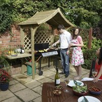 Party Arbour 2400 x 1810 x 1290mm Natural Timber Finish - Rowlinson