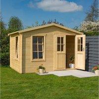 Rowlinson Garden Studio Wooden Summer House Room Log Cabin Natural Timber