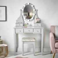 Ruby Rozanna Grey Dressing Table with Hollywood Bulbs LED Lights Vanity Mirror and 5 Drawers Stool Set For Bedroom Makeup Jewellery Storage