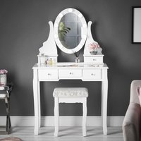 Ruby Rozanna White Dressing Table with Hollywood Bulbs LED Lights Vanity Mirror and 5 Drawers Stool Set For Bedroom Makeup Jewellery Storage