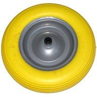 Ruota carriola antiforatura gialla piena poliuretano 350 X 76 assale 110 mm - Sikurotech