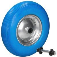 Ecd Germany - Ruota per carriola gomma piena PU antiforatura 4.80/4.00-8 390mm blu incl. asse