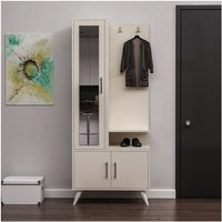Safir Hall Unit - Closet, Coat Rack, Shoe Bench - with Mirror, Doors, Shelves - Cream, made in Wood, 75 x 40 x 180 cm - HOMEMANIA
