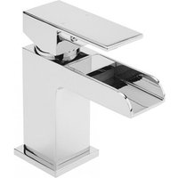 Sagittarius Flow Cascade Monobloc Basin Mixer Tap with Sprung Waste - Chrome