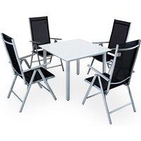 Casaria Salon de jardin aluminium »Bern« 1 table 4 chaises pliantes différentes couleurs plateau de table en verre dépoli dossier réglable 7