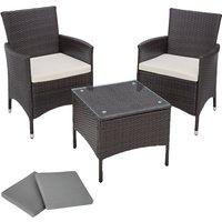 Tectake - Salon de jardin ATHENES - 2 Chaises Fauteuils et 1 Table en Résine Tressée structure Aluminium Marron