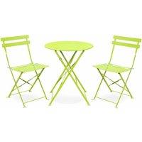 Salon de jardin bistrot pliable - Emilia rond vert anis - Table Ø60cm avec deux chaises pliantes, acier thermolaqué, - ALICE'S GARDEN