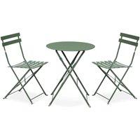 Salon de jardin bistrot pliable - Emilia rond vert de gris - Table Ø60cm avec deux chaises pliantes, acier thermolaqué - ALICE'S GARDEN