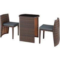 Tectake - Salon de Jardin HAMBOURG Encastrable 2 Personnes 2 Chaises + 1 Table en Résine Tressée et Aluminium Marron