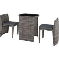 Tectake - Salon de Jardin HAMBOURG Encastrable 2 Personnes 2 Chaises + 1 Table en Résine Tressée et Aluminium Gris