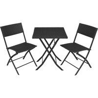 Tectake - Salon de jardin TREVI Résine tressée 2 Personnes, 2 Chaises et 1 Table pliantes Noir