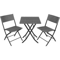 Tectake - Salon de jardin TREVI Résine tressée 2 Personnes, 2 Chaises et 1 Table pliantes Gris