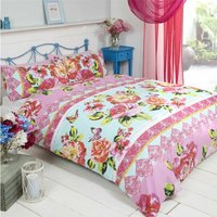 Rapport - Sanaa Super king Bed Duvet Cover Bedding and 2 Pillowcase Set, Bright Flowers and Butterflies